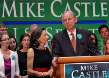 Mike Castle takes to the podium after his defeat on primary night.