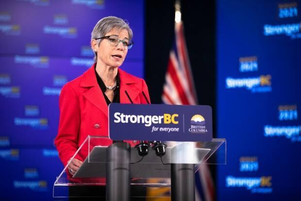 B.C. Finance Minister Selina Robinson unveils her first provincial budget, which projects a $9.7 billion deficit this fiscal year. (Mike McArthur/CBC - image credit)