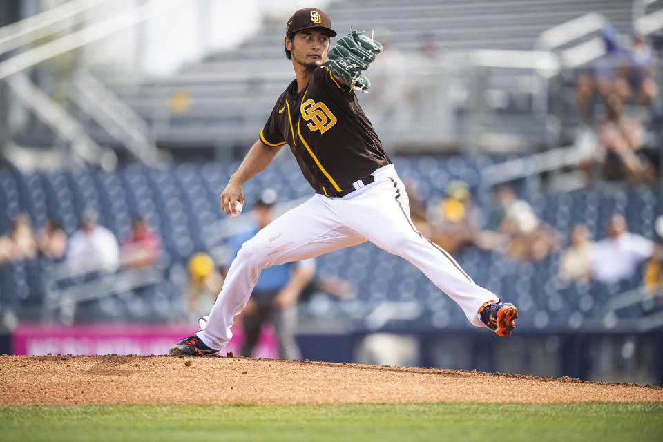 PEORIA, AZ - MARCH 07: Pitcher Yu Darvish #11 of the San Diego Padres pitches against the Kansas City Royals at the Peoria Sports Complex on March 7, 2021 in Peoria, Arizona. (Photo by Matt Thomas/San Diego Padres/Getty Images)