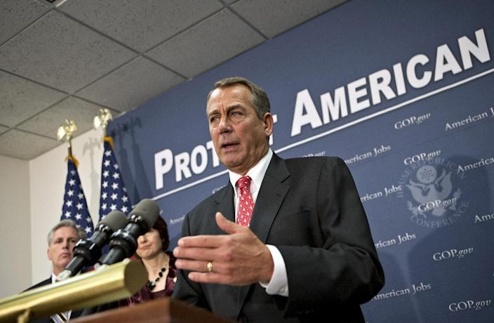 Speaker of the House John Boehner, R-Ohio, joined at left by Rep. Cathy McMorris Rodgers, R-Wash., and House Majority Whip Kevin McCarthy, R-Calif., far left, as they speak to reporters about the fiscal cliff negotiations after a closed-door strategy session at the Capitol in Washington, Tuesday, Dec. 18, 2012. (AP Photo/J. Scott Applewhite)