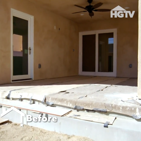 A 'before' shot of Nicole Leal's backyard before it was transformed by Rebel Wilson on HGTV's 'Celebrity IOU'