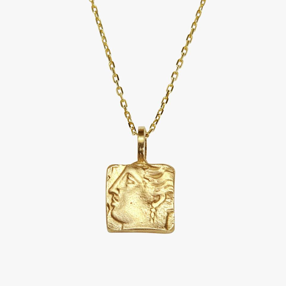 "<p><strong>Shola Branson </strong></p><p>sholabranson.com</p><p><strong>£866.00</strong></p><p><a href=""https://sholabranson.com/products/venus-necklace-solid-gold"" rel=""nofollow noopener"" target=""_blank"" data-ylk=""slk:Shop Now"" class=""link rapid-noclick-resp"">Shop Now</a></p><p>The sustainable demi-fine jewelry designer melts antique jewelry, reworked into an engraved pendant hung delicately on a gold chain. </p>"