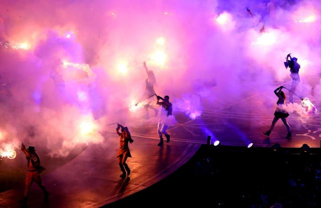 LONDON, ENGLAND - SEPTEMBER 09: Smoke and flames fill the arena during the closing ceremony on day 11 of the London 2012 Paralympic Games at Olympic Stadium on September 9, 2012 in London, England. (Photo by Dean Mouhtaropoulos/Getty Images)