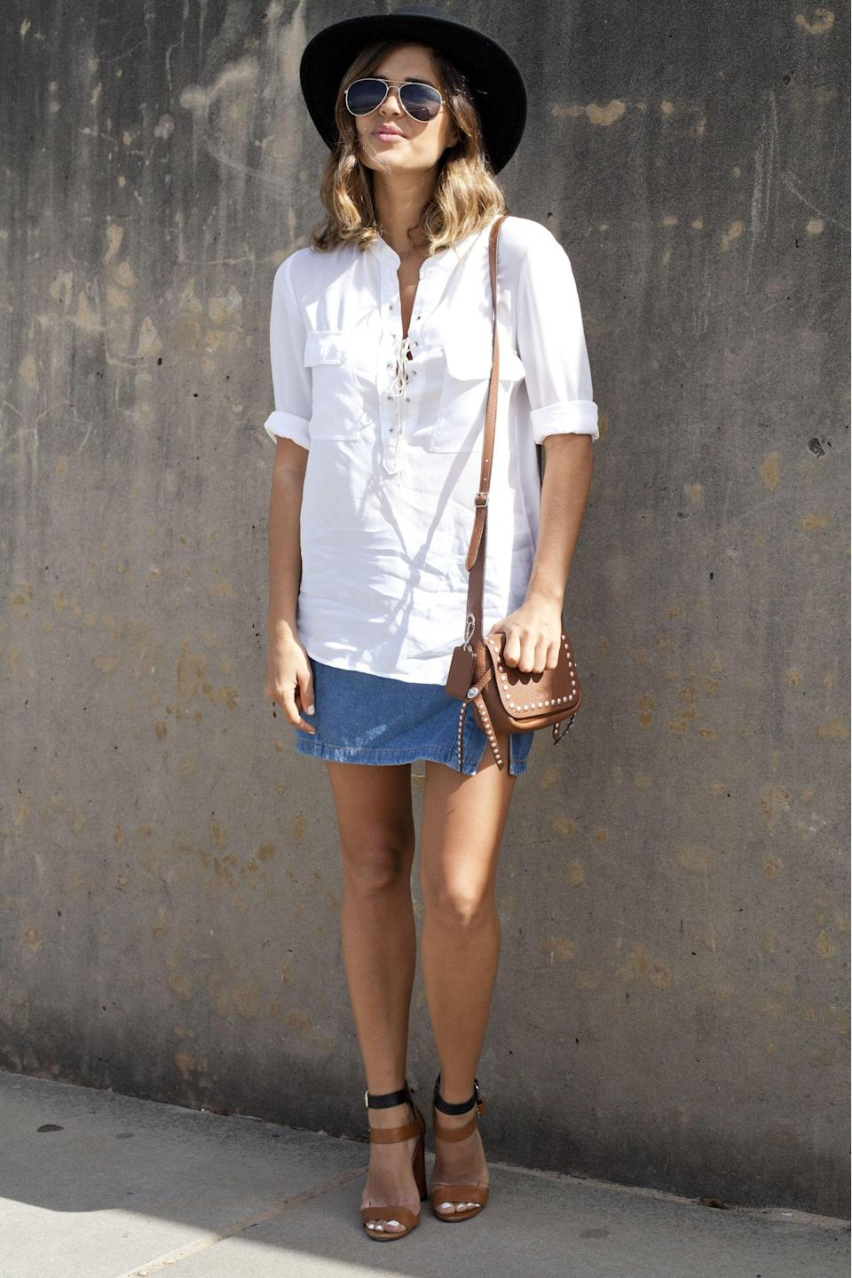 <p>A classic white button-down will always be in style.</p>