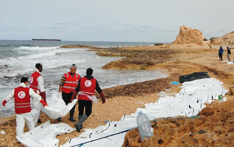 Image result for Bodies of 74 migrants wash up on Libya beach: Red Crescent