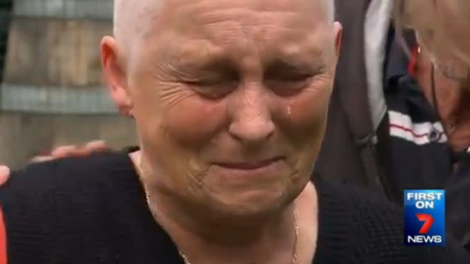 An emotional Mrs Sinden couldn't stop crying over the loss of her puppy. Photo: 7 News