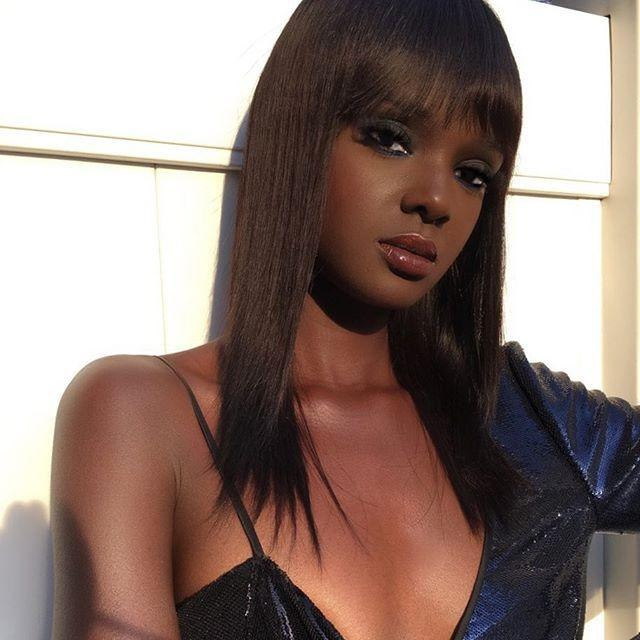 """<p>Once again, bangs are the best move for thin hair. Try some rounded ones with straight strands, like Duckie Thot.</p><p><a href=""""https://www.instagram.com/p/BhxVxbQgriq/"""" rel=""""nofollow noopener"""" target=""""_blank"""" data-ylk=""""slk:See the original post on Instagram"""" class=""""link rapid-noclick-resp"""">See the original post on Instagram</a></p>"""