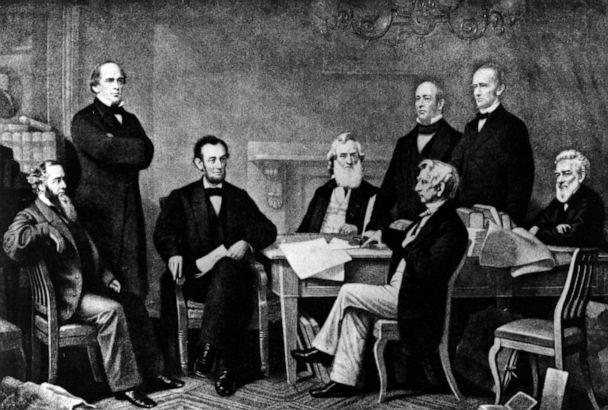 PHOTO: A drawing depicts Abraham Lincoln at the signing of the Emancipation Proclamation on Sept. 22, 1862. (Hulton Archive/Getty Images, FILE)