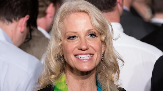"""Kellyanne Conway's attempt at using Twitter to praise President Donald Trump for """"empowering women"""" backfired Thursday."""