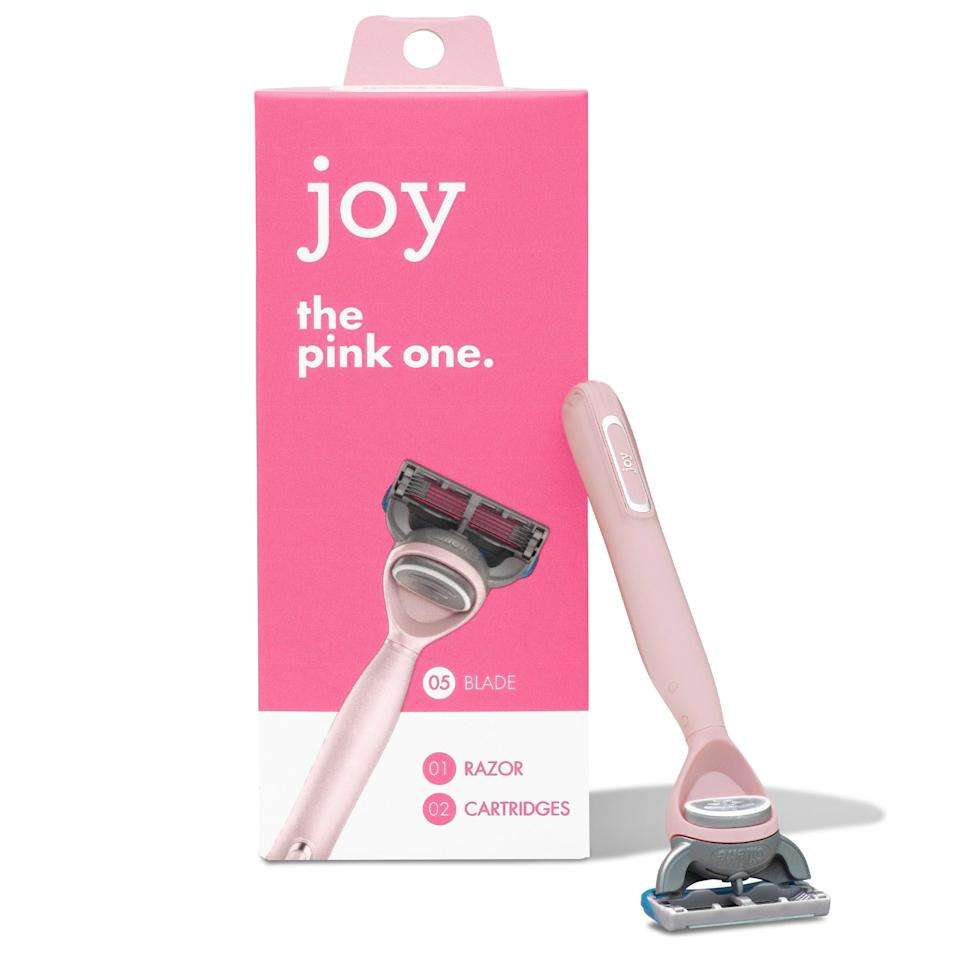 """If your skin is fairly sensitive and you have thick hair, Joy is for you. The rubber """"lubrastrip"""" head is gentle enough to keep razor burn at bay, and its grippy handle allows you to have a strong grip on your close shave, so you won't drop it in the shower. It also comes in <a href=""""https://goto.walmart.com/c/1324868/565706/9383?subId1=BestDisposableRazors&veh=aff&sourceid=imp_000011112222333344&u=https%3A%2F%2Fwww.walmart.com%2Fip%2Fjoy-Razor-Handle-2-razor-blade-refills-Teal%2F836806562"""" rel=""""nofollow noopener"""" target=""""_blank"""" data-ylk=""""slk:teal"""" class=""""link rapid-noclick-resp"""">teal</a> and <a href=""""goto.walmart.com/c/1324868/565706/9383?subId1=BestDisposableRazors&veh=aff&sourceid=imp_000011112222333344&u=https%3A%2F%2Fwww.walmart.com%2Fip%2FJoy-Razor-Handle-and-2-Blade-Refill-Cartridges-Yellow%2F818570117"""" rel=""""nofollow"""" data-ylk=""""slk:yellow"""" class=""""link rapid-noclick-resp"""">yellow</a>."""