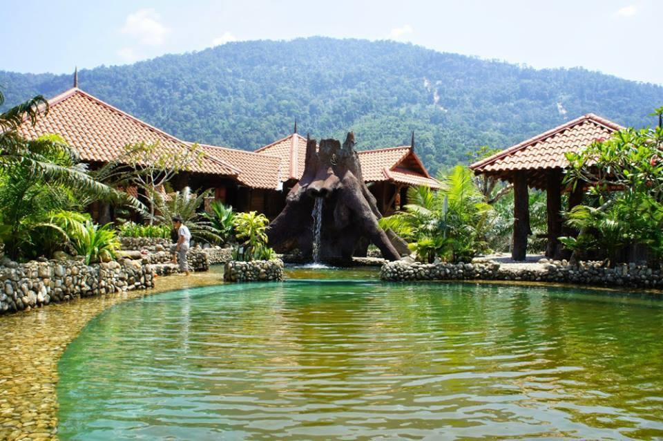 A photo of the pool at Sahom Valley Resort, which claims to be an 'eco park'.