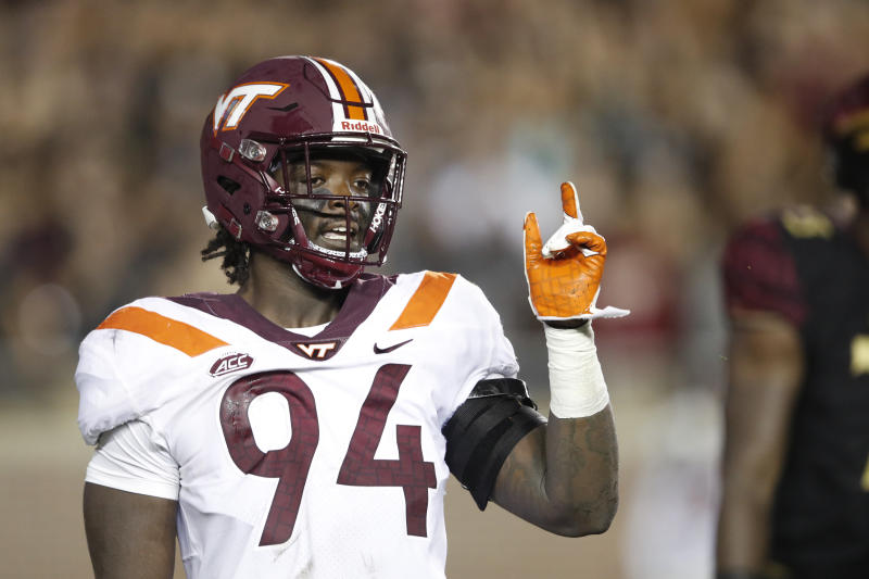 TALLAHASSEE, FL - SEPTEMBER 03: Trevon Hill #94 of the Virginia Tech Hokies reacts after sacking Deondre Francois #12 of the Florida State Seminoles in the second quarter of the game at Doak Campbell Stadium on September 3, 2018 in Tallahassee, Florida. (Photo by Joe Robbins/Getty Images)