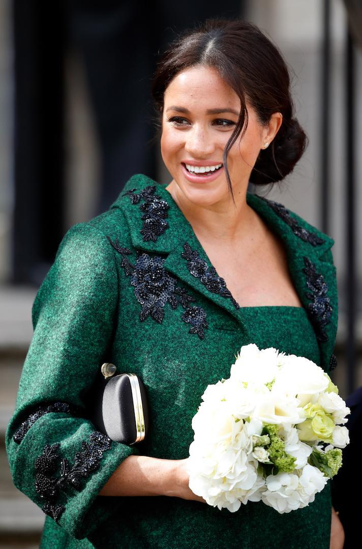 For a Commonwealth Day Youth Event at Canada House on March 11, 2019 the Duchess of Sussex opted for more polished tendrils [Photo: Getty]