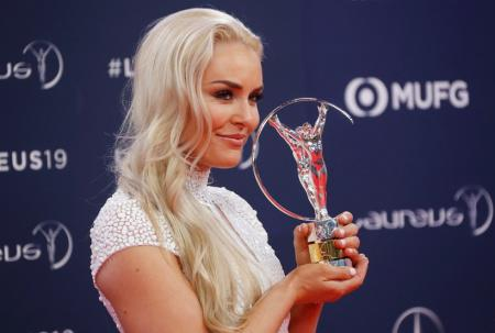 Lindsey Vonn poses after winning the Spirit of Sport award