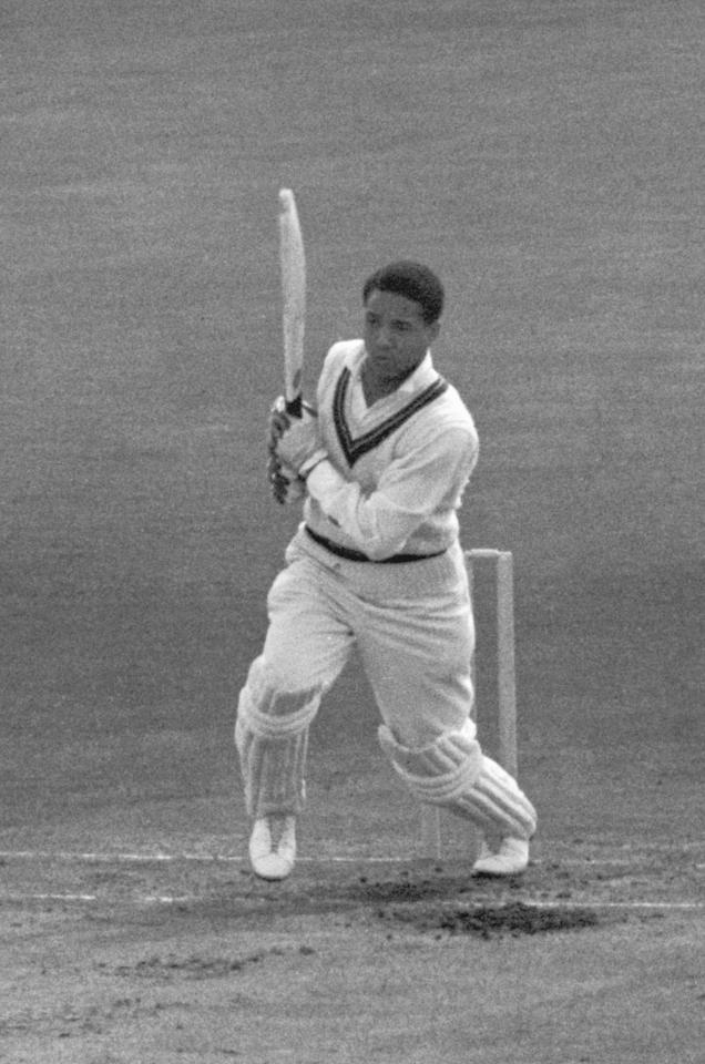 West Indian cricketer Garfield Sobers batting at the Oval in London, during a test match against England, 1957. (Photo by Central Press/Hulton Archive/Getty Images)