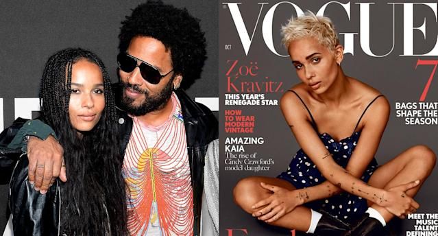 Lenny Kravitz is one proud papa, gushing over daughter Zoë on the cover of <em>British</em> <em>Vogue</em>. (Photo: Getty Images/Vogue)