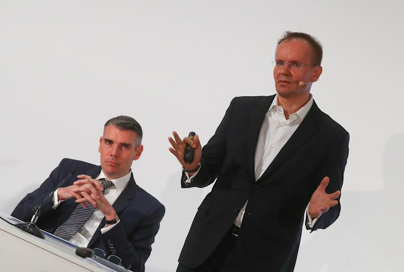 Markus Braun, CEO (R) and Alexander von Knoop, CFO of Wirecard AG, an independent provider of outsourcing and white label solutions for electronic payment transactions attend the company's annual news conference in Aschheim near Munich, Germany April 25, 2019. REUTERS/Michael Dalder