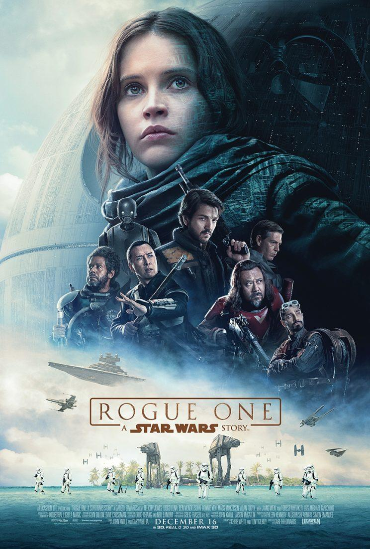 Released ahead of the second full trailer, this image has a more traditional 'Star Wars' look, with the main cast front and center, while the Death Star lurks behind and a battle rages below. (More on this poster). (Disney/Lucasfilm)