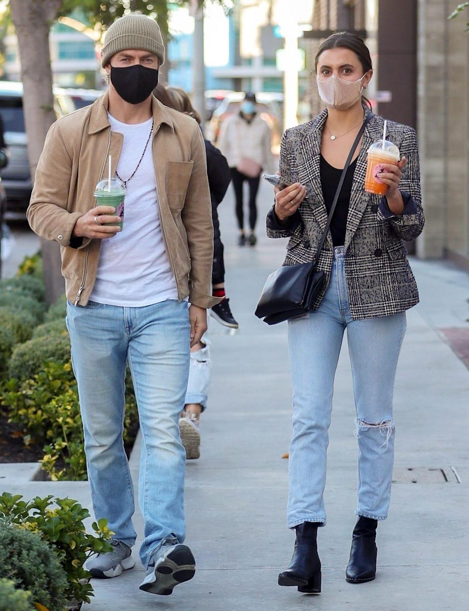 <p>Derek Hough and Hayley Erbert stop for smoothies at Joe & the Juice on Tuesday in West Hollywood. </p>
