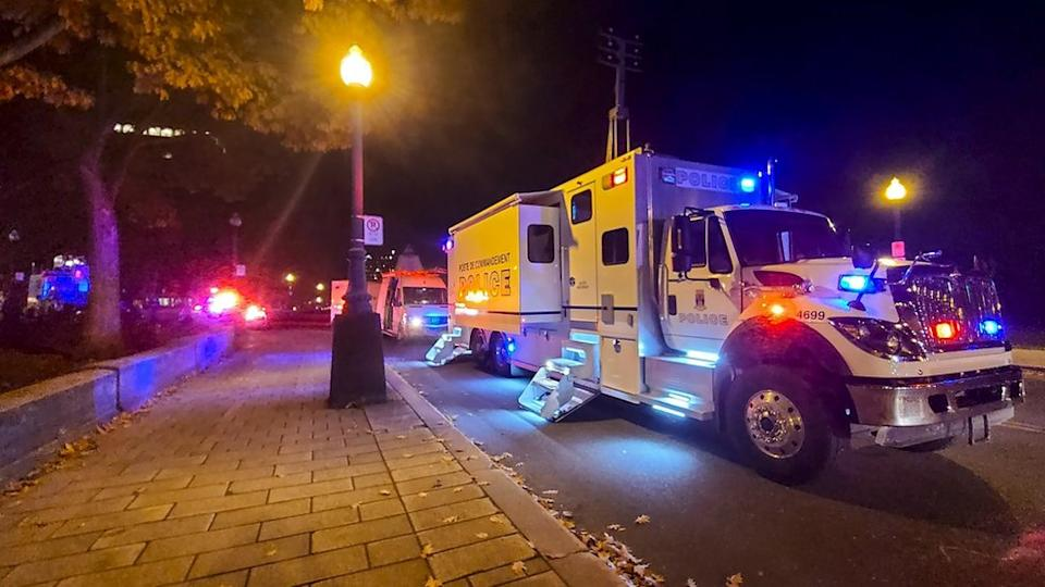 A police truck is parked near the National Assembly of Quebec, in Quebec City, early on 1 November, 2020.