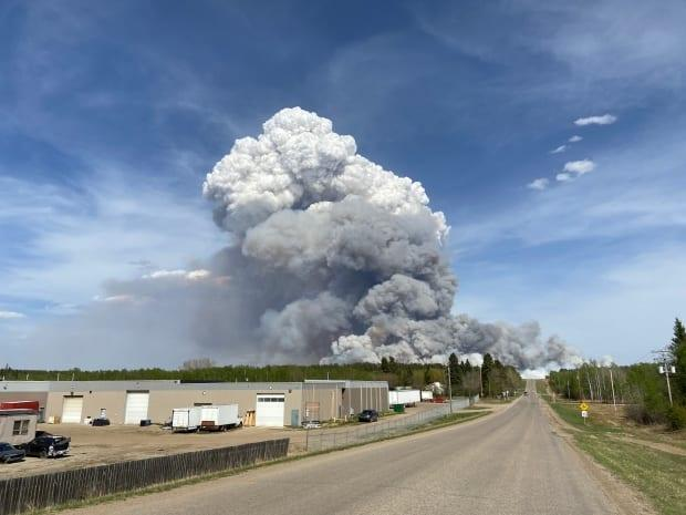 The wildfire is burning north of Prince Albert, Sask. Hundreds of people could be evacuated if the winds change, according to Mayor Greg Dionne. (Submitted by Corrine Soloducha - image credit)