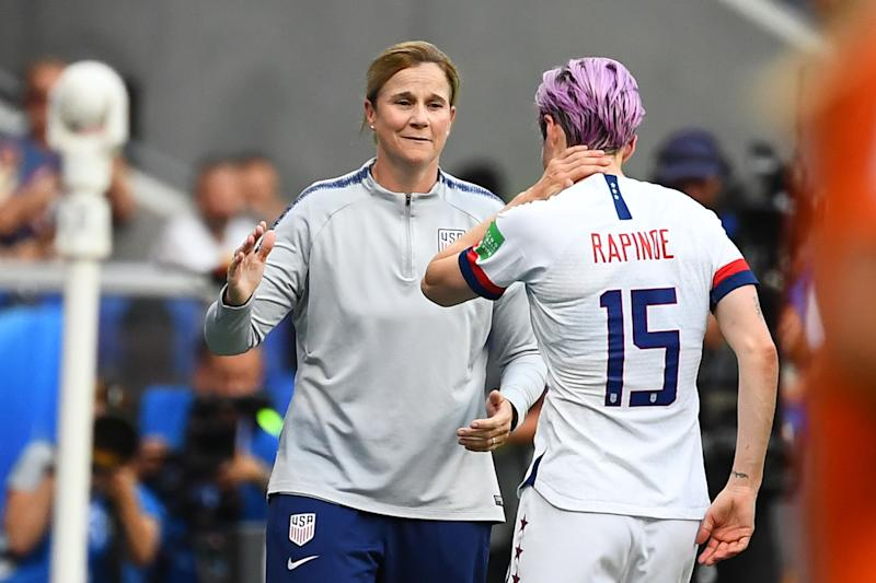 United States' forward Megan Rapinoe (R|) comes off past United States' coach Jillian Ellis during the France 2019 Womens World Cup football final match between USA and the Netherlands, on July 7, 2019, at the Lyon Stadium in Lyon, central-eastern France. (Photo by FRANCK FIFE / AFP) (Photo credit should read FRANCK FIFE/AFP/Getty Images)