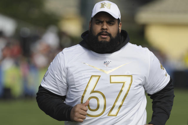 FILE - In this Jan. 22, 2020, file photo, New Orleans Saints guard Larry Warford runs during NFL football NFC Pro Bowl practice in Kissimmee, Fla. After being selected for the last three Pro Bowls, Warford was cut by New Orleans earlier this month. He immediately became the most enticing offensive lineman on the market, and will likely find a starting spot somewhere. (AP Photo/Chris O'Meara, File)