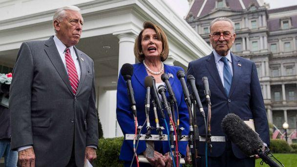PHOTO: House Majority Leader Steny Hoyer, left, House Speaker Nancy Pelosi, and Senate Minority Leader Chuck Schumer, speak with reporters after a meeting with President Donald Trump at the White House, Wednesday, Oct. 16, 2019, in Washington. (Alex Brandon/AP)