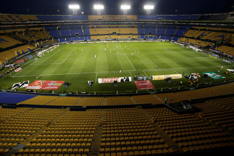 A general view during the match was played in private at the Universitario Stadium in Monterrey, Mexico in March. Liga MX officially canceled the season on Friday because of the coronavirus pandemic.