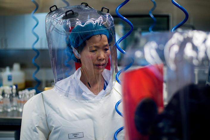 Chinese virologist Shi Zhengli is seen inside the P4 laboratory in Wuhan, capital of China's Hubei province, on 23 February, 2017. Dr Shi has dismissed questions around whether Covid-19 may have originated in her lab as 'filth'.  (AFP via Getty Images)