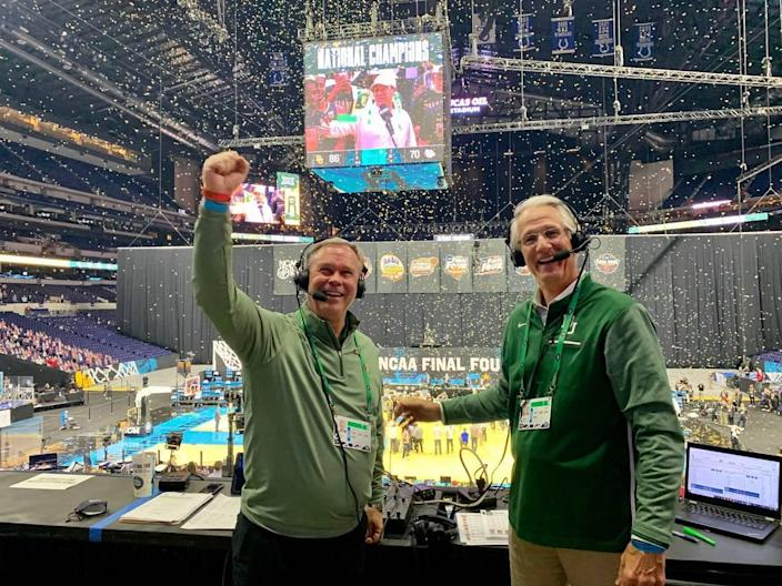 Baylor basketball play-by-play announcer John Morris, left, grew up in Danville. Color commentator, Pat Nunley, is at right.