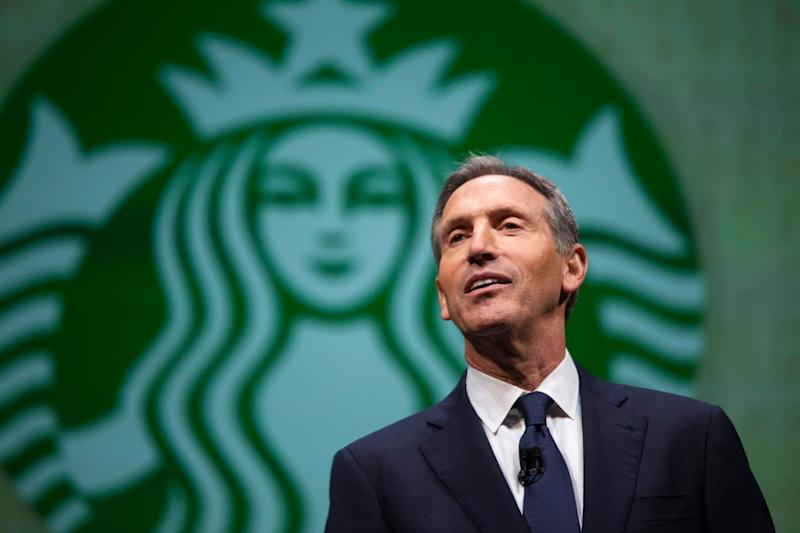 Starbucks CEO Howard Schultz speaksduring the company's 2014 shareholders meeting in Seattle.