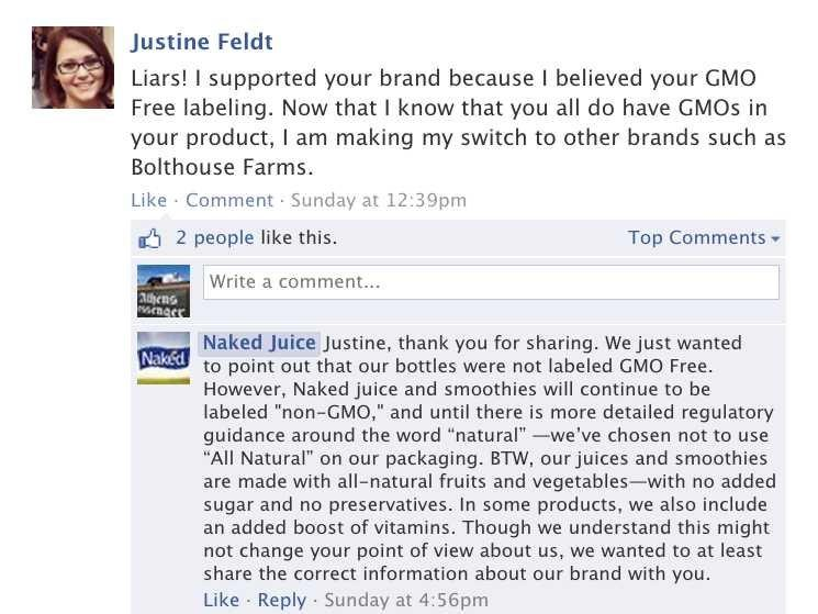 Naked Juice Facebook page