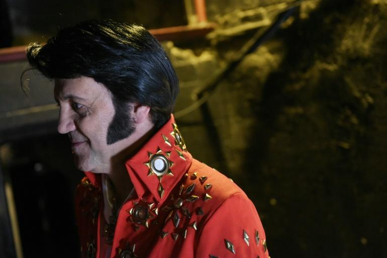 "Elvis impersonator Ede D'Anna from Brazil is seen backstage before taking part in the ""Images of the King"" contest at the New Daisy Theatre in Memphis"