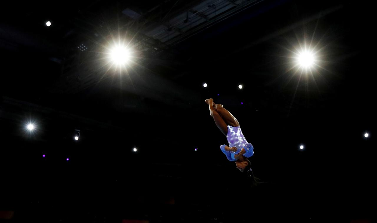 Artistic Gymnastics - 2019 World Artistic Gymnastics Championships - Women's Floor Final - Hanns-Martin-Schleyer-Halle, Stuttgart, Germany - October 13, 2019   Simone Biles of the U.S. in action   REUTERS/Wolfgang Rattay     TPX IMAGES OF THE DAY