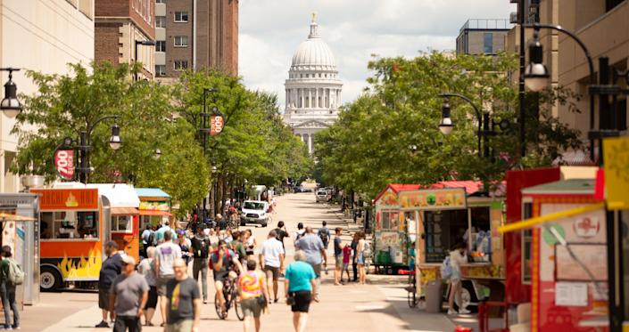 The University of Wisconsin-Madison is connected to the state capitol by State Street, home to boutiques, restaurants and food carts.