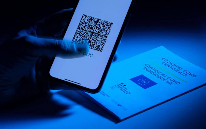 A mobile phone screen bears the EU Digital Covid Certificate as the French government rolls out mandatory health passports for many public spaces, sparking mass protests - JOEL SAGET/AFP