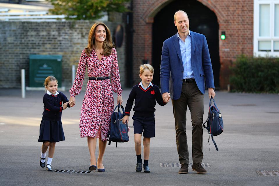 Princess Charlotte, Kate Middleton, Prince George and Prince William walk hand in hand as the royals go to school