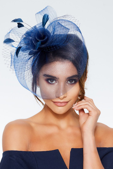 Navy rose large net fascinator, Quiz, £12.99