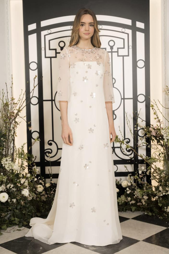 <p>The embellishments on this Jenny Packham number offer just enough sparkle and shine.</p>