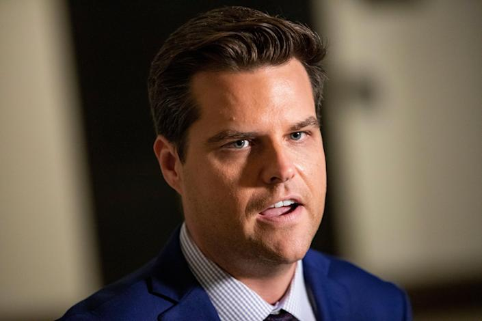 US Rep. Matt Gaetz (R-FL) speaks to the media outside of the Sensitive Compartmented Information Facility (SCIF) during the continued House impeachment inquiry against President Donald Trump at the US Capitol on 30 October, 2019, in Washington, DC (Getty Images)