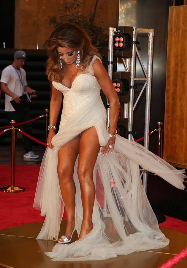 Real Housewives of Melbourne star Gina Liano had a wardrobe nightmare on the carpet. Photo: Splash
