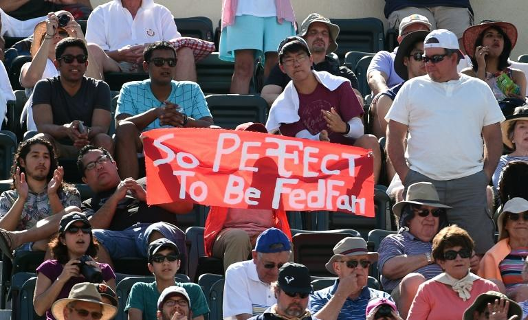 Fans cheer for Roger Federer of Switzerland during his semi final match against Jack Sock of the United States during day thirteen of the BNP Paribas Open at Indian Wells Tennis Garden on March 18, 2017