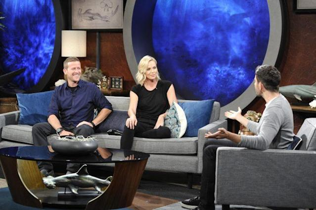 Cinematographer Andy Casagrande, Charlize Theron, and Eli Roth on <em>Shark After Dark.</em> (Photo: Discovery)