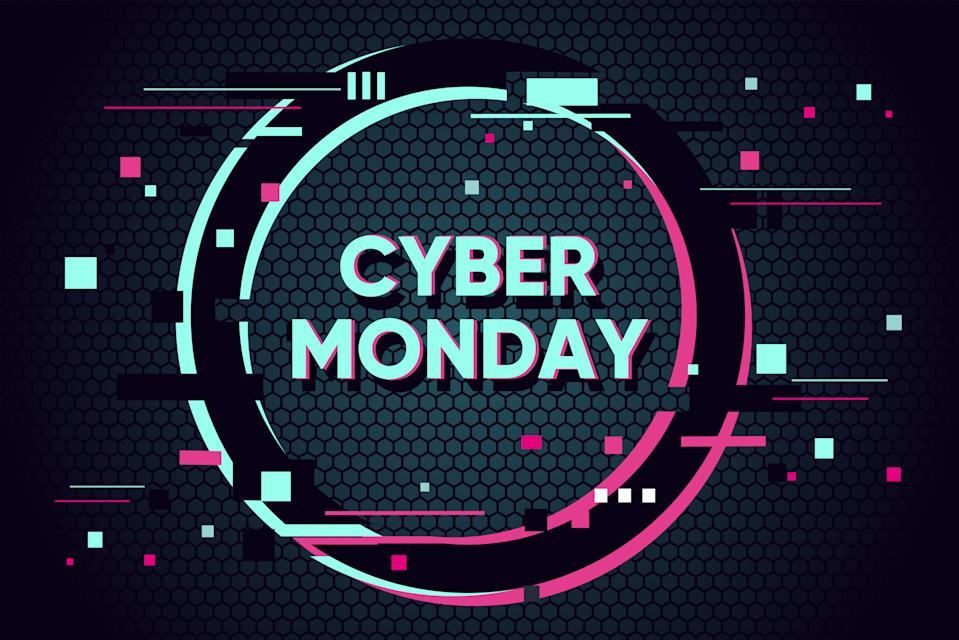 Cyber monday background with glitch effect. Abstract vector illustration with geometric shape. Promo sale horizontal banner design.
