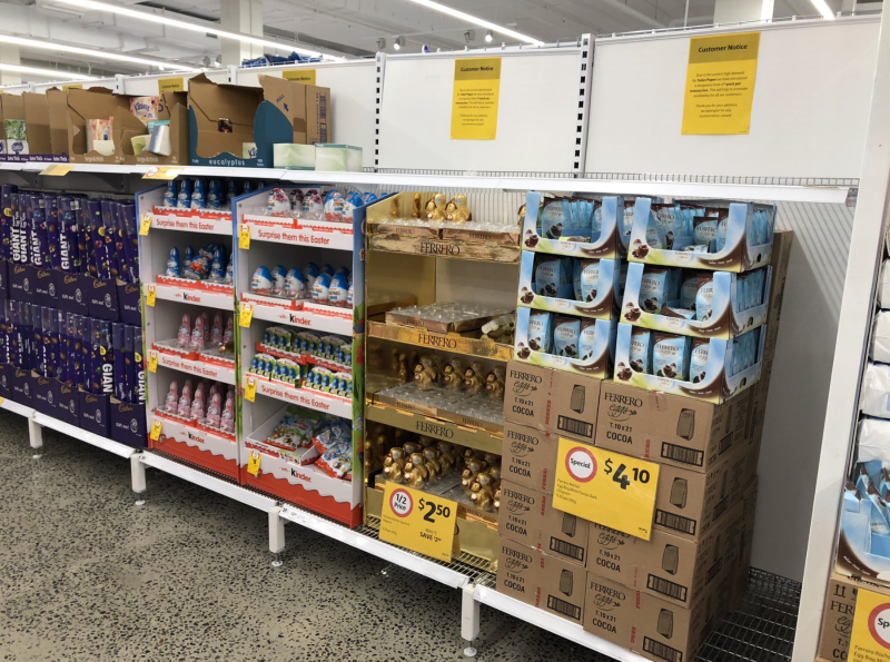 Coles has put easter eggs in space left empty by toilet paper hoarders. Source: Twitter/ktml