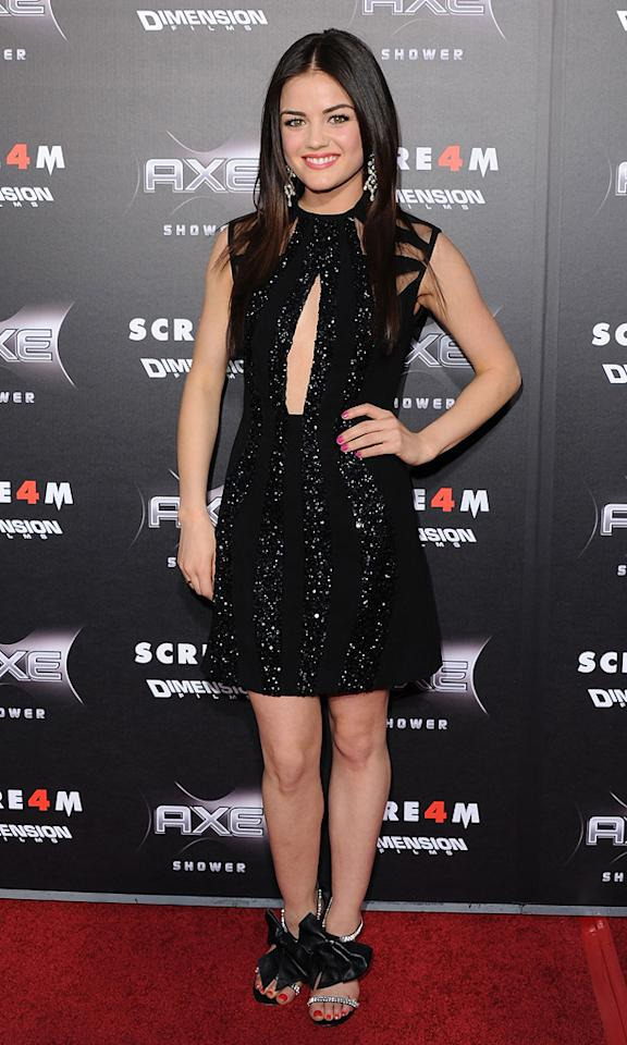 """Pretty Little Liars"" star <a href=""http://movies.yahoo.com/movie/contributor/1809350190"">Lucy Hale</a> -- who cameos in <a href=""http://movies.yahoo.com/movie/1810035905/info"">Scream 4</a> -- was cute as can be in a sequined frock and bow-adorned heels."