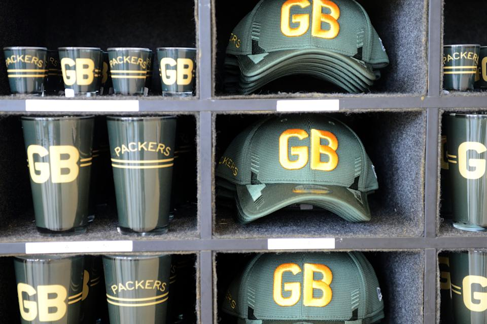 Merchandise based on the Green Bay Packers 1950s logos and apparel went on sale Thursday in the Packers Pro Shop at Lambeau Field in Green Bay.