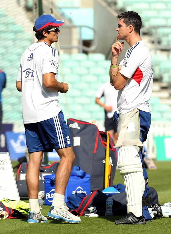 England captain Alastair Cook (left) and Kevin Pietersen during a nets session at The Kia Oval, London.