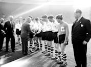 Viscount Montgomery shakes hands with England's Nobby Stiles as he is introduced to the England team before the match (Photo by S&G/PA Images via Getty Images)